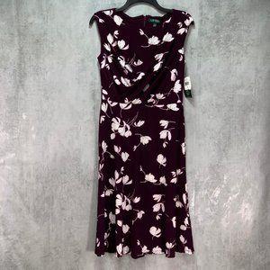 Lauren Ralph Lauren Plum/Cream Floral Jersey Fit &